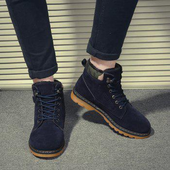 Suede Eyelet Lace Up Short Boots - BLUE BLUE