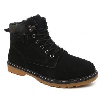 Suede Eyelet Lace Up Short Boots - BLACK 41
