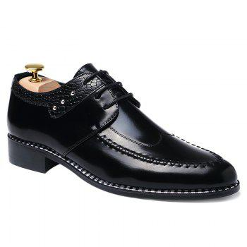 Faux Leather Embossed Panel Formal Shoes - BLACK BLACK