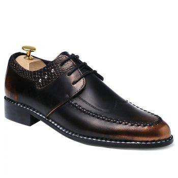 Faux Leather Embossed Panel Formal Shoes - BROWN BROWN