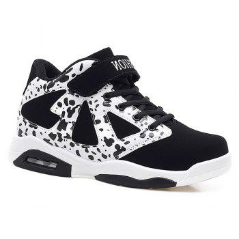 Buy Color Block Suede Panel Athletic Shoes WHITE/BLACK