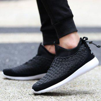 Slip On Suede Spliced Weaving Athletic Shoes - BLACK 42
