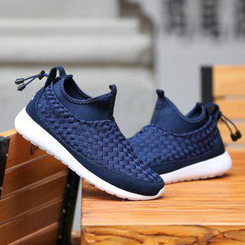 Slip On Suede Spliced Weaving Athletic Shoes