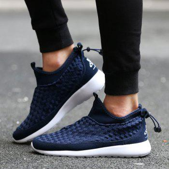 Slip On Suede Spliced Weaving Athletic Shoes - DEEP BLUE 42