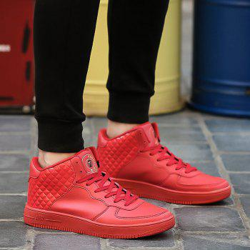 Lace Up Rhombic High Top Skate Shoes