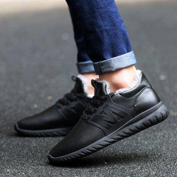 Lace Up Fuzzy Casual Shoes - BLACK 44