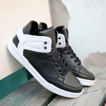 Lace Up High Top Skate Shoes - WHITE/BLACK 40