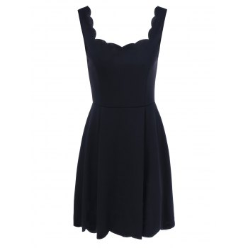 Scalloped Fit and Flare Dress - BLACK BLACK
