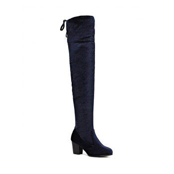 Chunky Heel Zip Lace Up Thigh Boots