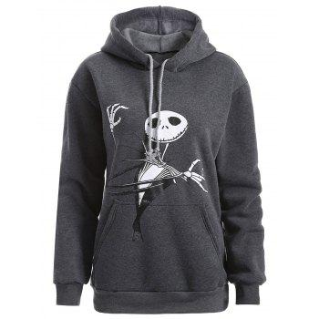 Plus Size Halloween Ghost Print Graphic Hoodie - DEEP GRAY 3XL