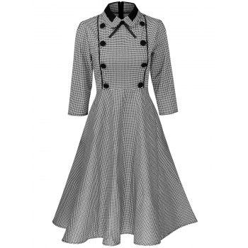 Plus Size Vintage Houndstooth Print Pin Up Dress