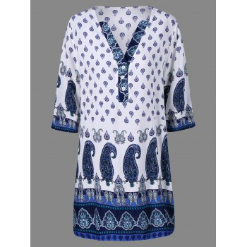 Ethnic Print V Neck Dress