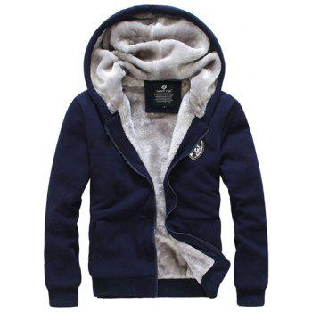 Zip Up Applique Flocking Hoodie and Pants Twinset - CADETBLUE M
