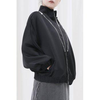 Zip-Up Loose Jacket - BLACK S