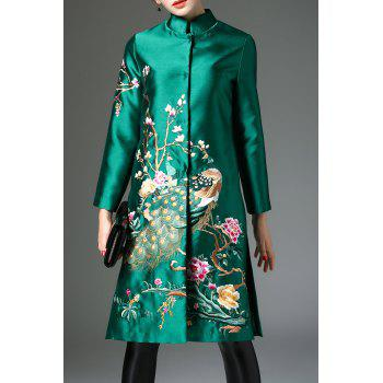 Floral Embroidered Satin Coat