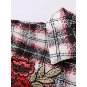Floral Embroidered Patched Tartan Shirt - CHECKED M