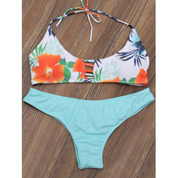 Lattice Strap Halter Floral Bikini Set