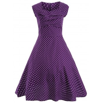Audrey Hepburn Style Tiny Polka Dot Pattern Skater Dress