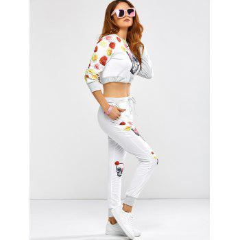 Active Rose Skull Print Crop Top and Running Jogger Pants - M M
