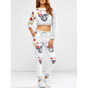 Active Rose Skull Print Crop Top and Running Jogger Pants - WHITE WHITE