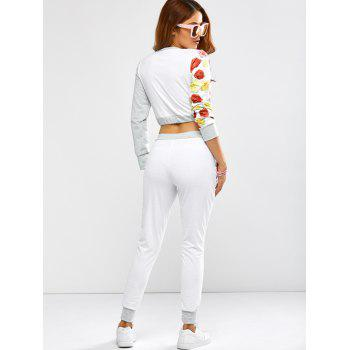 Active Rose Skull Print Crop Top and Running Jogger Pants - WHITE S