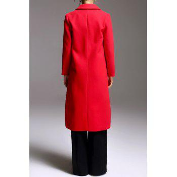 A-Line Fitting Woolen Coat - RED M