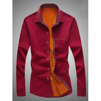 Embroidered Edging Flocking Shirt - RED 3XL