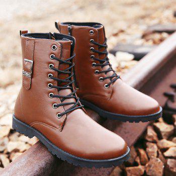 PU Leather Eyelet Buckle Strap Combat Boots - BROWN 44