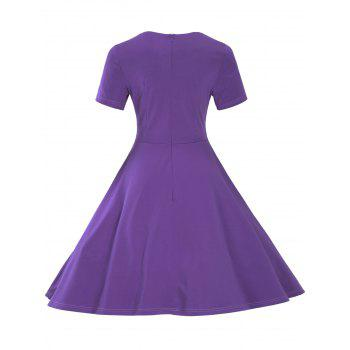 Vintage Short Sleeve Fit and Flare Pin Up Dress - PURPLE XL