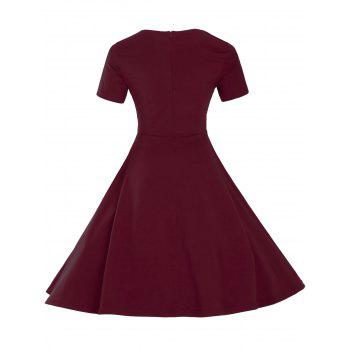 Vintage Short Sleeve Fit and Flare Pin Up Dress - BURGUNDY L