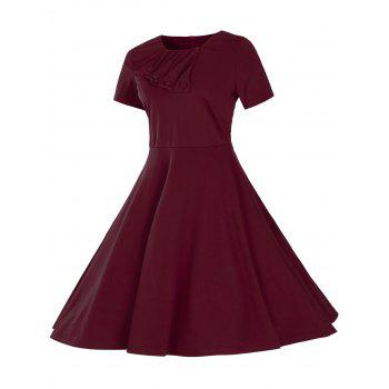 Vintage Short Sleeve Fit and Flare Pin Up Dress - BURGUNDY XL
