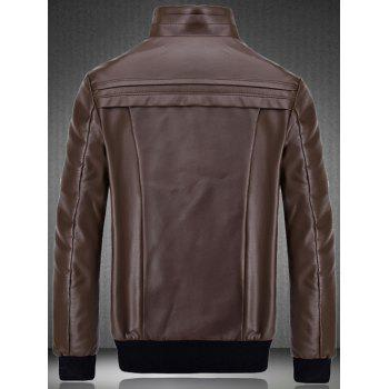 Flocking Spliced Design PU Leather Jacket - WINE RED 3XL