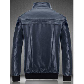 Flocking Spliced Design PU Leather Jacket - CADETBLUE 2XL