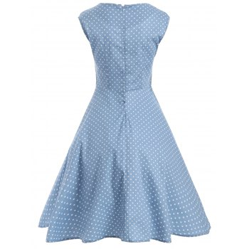 Audrey Hepburn Style Tiny Polka Dot Pattern Swing Skater Dress - CLOUDY L