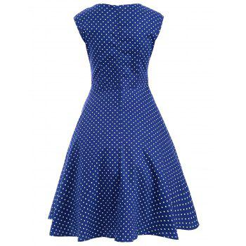 Audrey Hepburn Style Tiny Polka Dot Pattern Swing Skater Dress - BLUE L