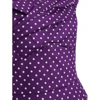 Audrey Hepburn Style Tiny Polka Dot Pattern Swing Skater Dress - PURPLE XL