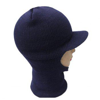 Warmer Elastic Knit Face Mask Neck with Brim Ski Cap - CERULEAN