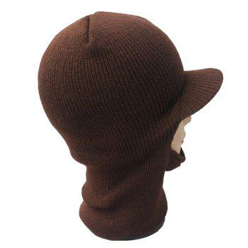 Warmer Elastic Knit Face Mask Neck with Brim Ski Cap - COFFEE