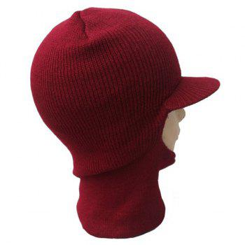 Warmer Elastic Knit Face Mask Neck with Brim Ski Cap - BURGUNDY