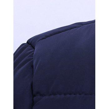 Striped Zip Up Hooded Quilted Jacket - PURPLISH BLUE L
