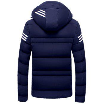 Striped Zip Up Hooded Quilted Jacket - PURPLISH BLUE 3XL