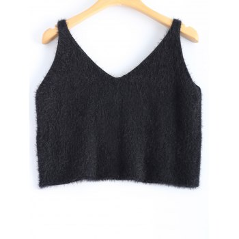 V Neck Fuzzy Knitwear - BLACK ONE SIZE
