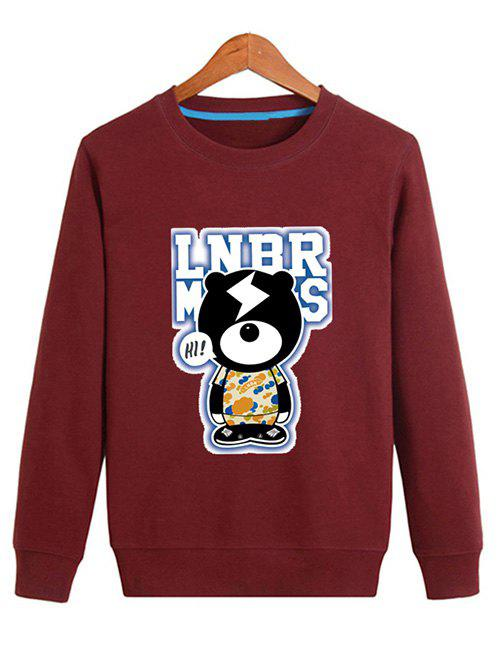 Crew Neck Cartoon Graphic Sweatshirt - DEEP RED M