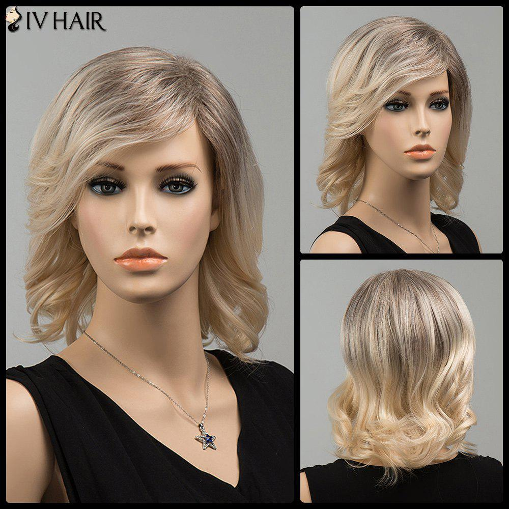 Mixed Color Side Bang Tail Upward Medium Siv Human Hair Wig