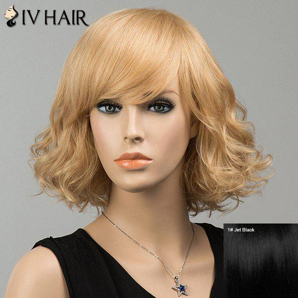 Gorgeous Shaggy Side Bang Short Curly Siv Human Hair Wig - JET BLACK