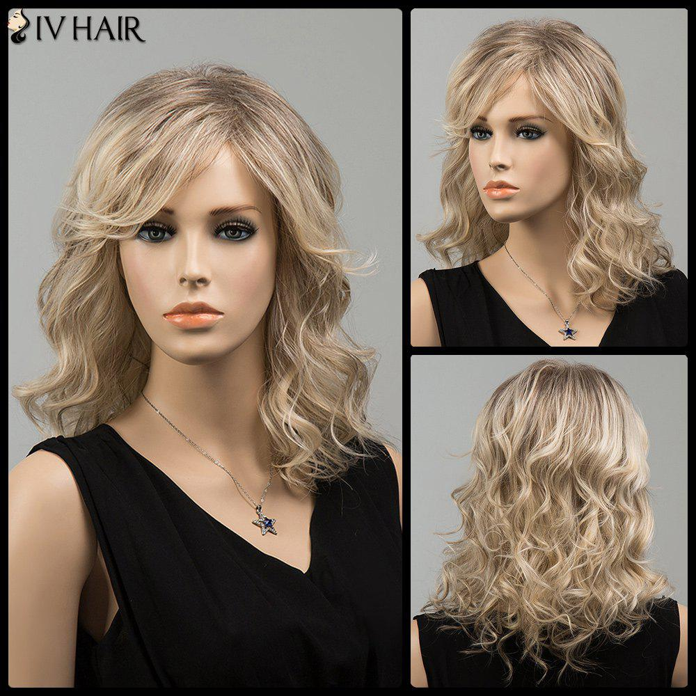 Mixed Color Side Bang Wavy Medium Siv Human Hair Wig