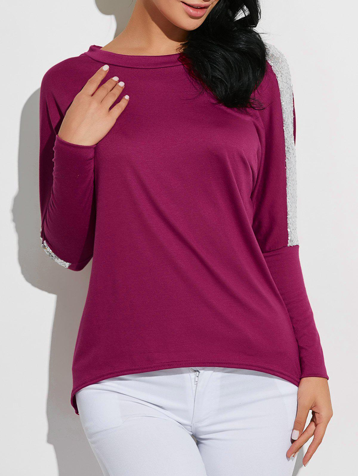 High-Low Sequined T-Shirt - PURPLE S