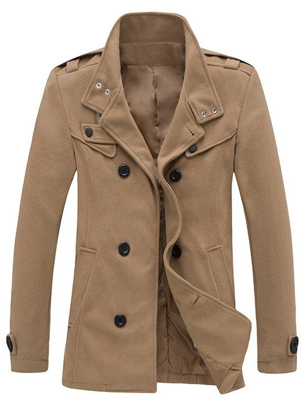 Stand Collar Zippered Epaulet Design Pea Coat - CAMEL 2XL