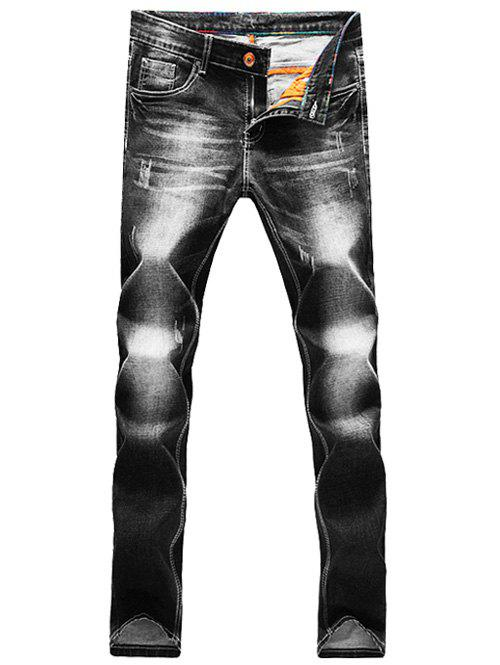 Pocket Scratched Zipper Fly Narrow Pieds Jeans - Noir 31