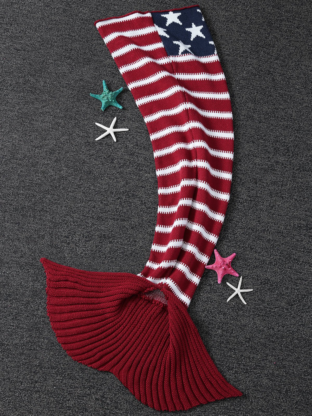 2018 Comfortable American Flag Pattern Knitted Mermaid Tail Blanket ...